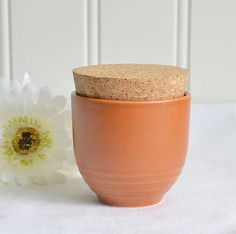 Stoneware coffee mug mustard jar vintage by GrannyHannasCottage
