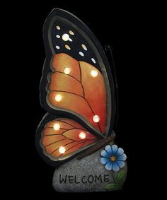 Exhart Orange Welcome Butterfly Marquee Solar Statue | zulily