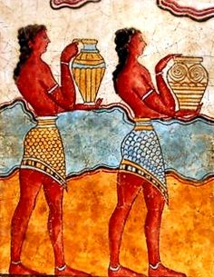 Statues & Busts :: Ancient Greek Wall Frescoes :: Minoan wall frescoes from the island of Crete :: Minoan Youth III aka Cupbearers -An exact museum reproduction, made of bonded marble and painted by hand. Price : $79.00.