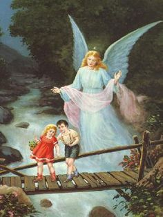 Guardian Angel on Bridge Guardian Angel Images, Guardian Angels, Benfica Wallpaper, Catholic Pictures, I Believe In Angels, Angel Art, Religious Art, Print Pictures, Painting