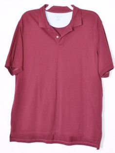 LANDS-END-Mens-Burgundy-Polo-Shirt-XL-Short-Sleeve-Traditional-Fit-100-Cotton