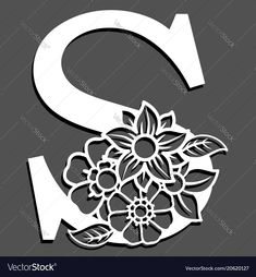 Letter silhouette with flowers letter s vector image on VectorStock Paper Crafts Origami, Paper Quilling, Paper Lace, Paper Flowers, Diy Embroidery Patterns, Paper Cutting Patterns, Butterfly Pictures, Flower Letters, Cardboard Art