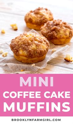 Easy Mini Coffee Cake Muffins recipe with a cinnamon sugar crumble on top! These fluffy moist muffins are so quick to make! Recipe makes 16 mini muffins. Homemade Muffins, Easy Homemade Recipes, Easy Cake Recipes, Easy Coffee Cake Recipe, Recipe For Muffins, Easy Baking Recipes, Egg Muffins, Homemade Desserts, Coffee Recipes