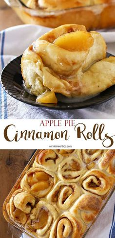 Apple Pie Cinnamon Rolls Recipe | Kleinworth & Co - The BEST Cinnamon Rolls Recipes - Perfect Treats for Breakfast, Brunch, Desserts, Christmas Morning, Special Occasions and Holidays