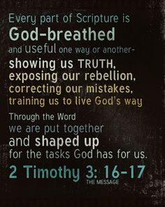 """2 Timothy 3:16-17 """"All scripture is given by inspiration of God, and is profitable for doctrine, for reproof, for correction, for instruction in righteousness:  17 That the man of God may be perfect, thoroughly furnished unto all good works."""