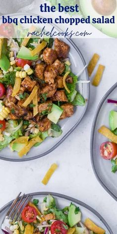 You'll love the homemade barbecue sauce dressing on this southwestern style BBQ chicken salad, with fresh corn kernels and shredded kohlrabi. Best Bbq Chicken, Bbq Chicken Salad, How To Cook Chicken, Southwestern Salad, Southwestern Style, Green Lettuce, Homemade Barbecue Sauce, Baked Tofu, Chopped Salad