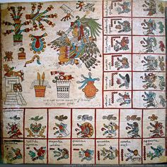 Page 13: Codex Bourbonicus - Aztec Codex from around the time of the Conquest of Mexico, either just before or just after. #CodexBourbonicus