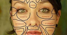 Traditional Chinese medicine claims that each part of the face is related to certain organs in your body. Here is how this chinese face map looks like. Chinese Face Map, Face Mapping, The Face, Heart And Lungs, Body Organs, Facial Massage, Massage Tips, Traditional Chinese Medicine, Acupuncture