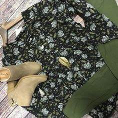 {Floral babydoll lace up top $32.50|| Brushed leggings olive $6|| Beljoy necklace Avery $48|| Tobin stone booties $38.75}   Comment below with PayPal to purchase and ship or comment for 24 hour hold  #repurposeboutique#loverepurpose#shoprepurpose#boutiquelove#style#trendy#fall