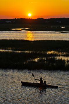 Kayak and sunset, Ocean Isle Beach, NC