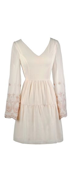 Lily Boutique Angelic Hippie Embroidered Bell Sleeve Dress in Cream, $42 Embroidered Bell Sleeve Dress, Cute Boho Dress, Hippie Bohemian Dress, Cream Bell Sleeve Dress, Cute Cream Dress, Cream Sundress www.lilyboutique.com