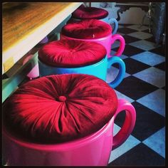 Teacup ottomans at Wonderland House, an Alice In Wonderland-themed hotel in Brighton, England near the Lanes.
