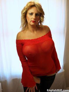 English MILF - big tits milf in sheer dress & stockings