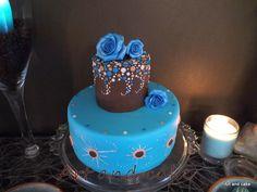 Blue rose cake Blauwe roos taart