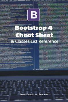 Bootstrap 4 CSS Framework Cheat Sheet & Classes List Reference PDF #webdesign