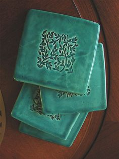 Coasters Set of Four Green Ceramic With by GreenLeafStudiosEtsy, $16.00