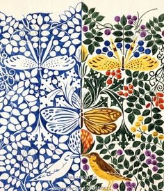 // Butterflies and birds design, by C.F.A. Voysey. England, 1918