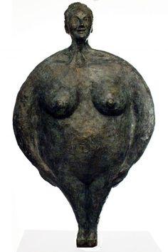 Bronze Garden sculpture by artist Isabelle Biquet titled: 'Big Mrs Madame (Bronze Round Fat Woman)' £2,900