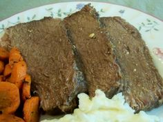 Crock Pot Bottom Round Roast - used white cooking wine instead of red and the gravy was some of the best I've had. Even my 3 yo granddaughter ate two helpings of both the meat and the carrots! Bottom Round Roast Recipes, Pot Roast Recipes, Meat Recipes, Slow Cooker Recipes, Crockpot Recipes, Cooking Recipes, Yummy Recipes, Dinner Recipes, Simple