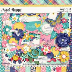 This fun and floral-packed digital scrapbook kit by Megan Turnidge is perfect for scrapping your girly girls!