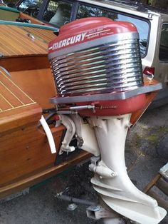 Original 50 h.p. Mercury Mark 55 Outboard Engine on a '59 Trojan Sea Queen.