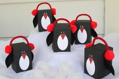 Penguin Favor Gift Boxes - set of 5 - Table Favor Birthday Party Favor Christmas Penguin by FaisysFavorBoxes on Etsy https://www.etsy.com/listing/194071853/penguin-favor-gift-boxes-set-of-5-table