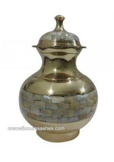 Mother Of Pearl Adult Cremation Brass Urn For Ashes.