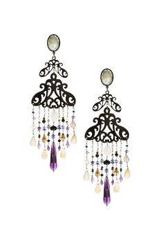 Earrings made of sterling silver 925 and natural horn with amethyst and quartz stones Quartz Stone, Handmade Silver, Wind Chimes, Sterling Silver Earrings, Horns, Amethyst, Ceiling Lights, Outdoor Decor, Gold