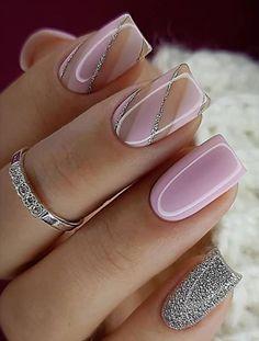 Classy Nail Designs, Pink Nail Designs, Short Nail Designs, Beautiful Nail Designs, Nails Design, Elegant Nails, Classy Nails, Stylish Nails, Trendy Nails