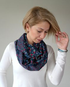 Infinity scarf, Flowered scarf, chiffon scarf, gift for her, gift for wife, Christmas gifts, Flowered on the dark indigo
