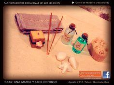 Caja con set de baño para recuerdo de Boda con tema de Playa #recuerdosboda #invitaciones #bodaplaya