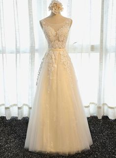 Cheap formal party gowns, Buy Quality party gown directly from China evening dress Suppliers: Dreagel New Arrival Graceful Appliques Princess A-Line Evening Dresses 2017 Scoop Neck Lace Up Robe De Mariage Formal Party Gown Cheap Evening Dresses, Cheap Prom Dresses, Evening Gowns, Bridesmaid Dresses, Formal Dresses, Quinceanera Dresses, Long Dresses, Tulle Prom Dress, Tulle Lace