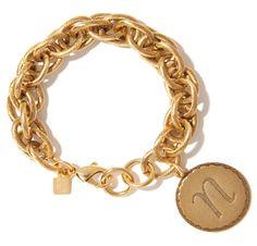 John Wind Jewelry | Gold Sorority Gal Initial Bracelet | Maximal Art Initial Charm Bracelet
