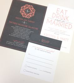 grey and coral wedding invite