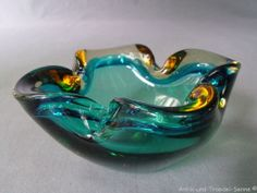 MURANO schöner alter Aschenbecher Glas blau gelb 60er Jahre | eBay