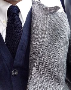 White Shirt, navy Blue tie and cardigan on Grey suit (Winter Style)