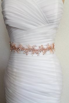 Rose gold Leaf Vine Delicate Bridal Sash. Boho Bohemian Crystal Pearl Gold  Wedding Belt. SilverThin Slim Rhinestone Floral Wire Sash. HAILEY 83fad350c