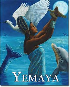 Yemaya, Goddess of the Ocean, Moon, all orishas, holding a turtle in the air as if praying in the deep blue sea; both dolphin swim and pelican fly around her; her skin is warm, radiant & glowing with the full moon behind her; her head is adorned with an oblong crown and her hair, embellished with seashells; her tail, curled up, is sequin-like silvery blue  (African: Yoruba; Afro-Caribbean; Afro-Brazilian; For more info., http://zer0dmx.tripod.com/gods/yemaya.html)
