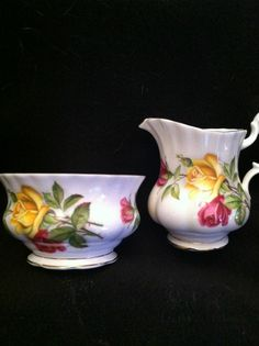 Royal Albert   Sugar Bowl and Creamer   Yellow and red Roses