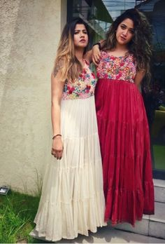 Beautiful light weight cotton dress with embroidery embellishments on top body. Western Dresses, Indian Dresses, Western Gown, Western Wear, Beautiful Dress Designs, Beautiful Dresses, Long Gown Dress, Long Dresses, Churidhar Designs