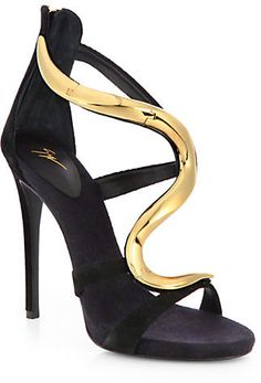 55c4b381494d1 Giuseppe Zanotti Suede & Lacquered Metal Sandals on shopstyle.com Giuseppe  Zanotti Heels,