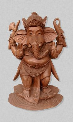 Ganesha is revered as the remover of obstacles in Hindu mythology. He is honored at the start of rituals and ceremonies. His seeming imperfections teach us to accept others just as they are. It is believed that keeping Ganesha statues at home bring plenty good luck and attract prosperity. This particular piece in which Ganesha is shown in a standing posture represents rigidity and proper attitude. Like the lotus, which grows in dirty ponds and yet is above all the muck that surrounds it.