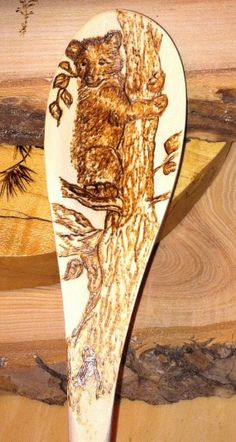 Bear cub pyrography  wood burning on rustic by MyCabinTreasures, $20.00