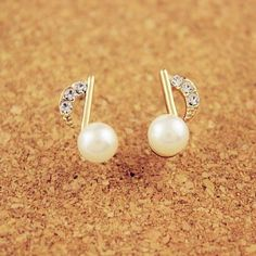 Cheap Lady Inlay Diamond Pearl Music Note Gilded Earrings For Big Sale! Tiny Stud Earrings, Cute Earrings, Women's Earrings, Silver Earrings, Earring Studs, Silver Ring, Silver Jewelry, Music Jewelry, Fine Jewelry