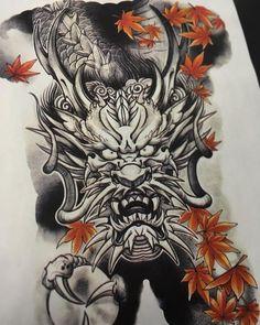 Japanese Tattoo Designs, Japanese Tattoo Art, Full Body Tattoo, Body Tattoos, Asian Tattoos, Tribal Tattoos, Dragon Tattoo Full Back, Hannya Mask Tattoo, Dark Art Tattoo