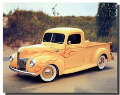 Absolutely stunning! This stunning vintage art print poster is sure to add a unique style to your room setting and goes with all decor style. This poster captures the image of yellow Ford Pickup Truck Harley Koopman Vintage poster will make a perfect addition to your home and sure to catch lot of attention. Hurry up order this wonderful poster for its durable quality with perfect color accuracy.