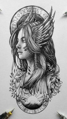 Tattoo Design Drawings, Tattoo Sleeve Designs, Tattoo Sketches, Sleeve Tattoos, Girl Face Tattoo, Girl Tattoos, Tattoos For Guys, Norse Tattoo, Viking Tattoos