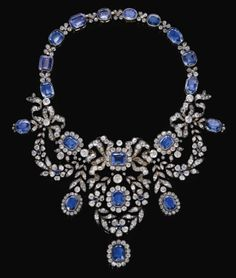 FRENCH CROWN JEWELS - Sapphire and diamond necklace belonged to Empress Marie-Louise of France from late 19th century.