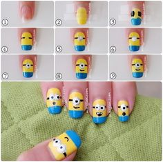 nail+design+step+by+step | Minion Nail Art Design Step by Step