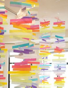 I'm going ape over these vellum mobiles Jordan of oh happy day put together for Project Wedding! Origami, Paper Mobile, Paper Crafts, Diy Crafts, Paper Strips, Paper Decorations, Paper Garlands, Rainbow Decorations, Decoration Crafts